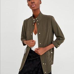 Zara Khaki Safari Jacket with Gold Buttons